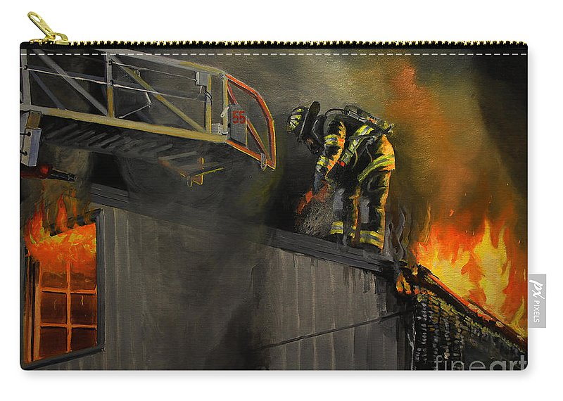 Firefighting Carry-all Pouch featuring the painting Mystic Fire by Paul Walsh