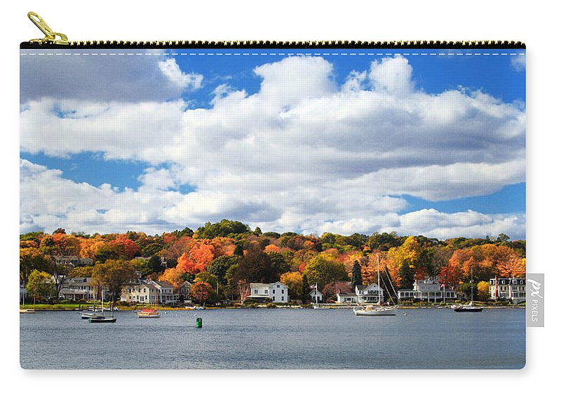 Mystic River Carry-all Pouch featuring the photograph Mystic River In Autumn by Stephanie McDowell