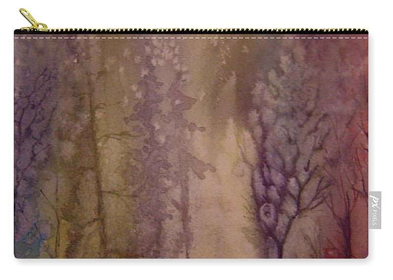 Mystic Forest River Carry-all Pouch featuring the painting Mystic River by Joanne Smoley