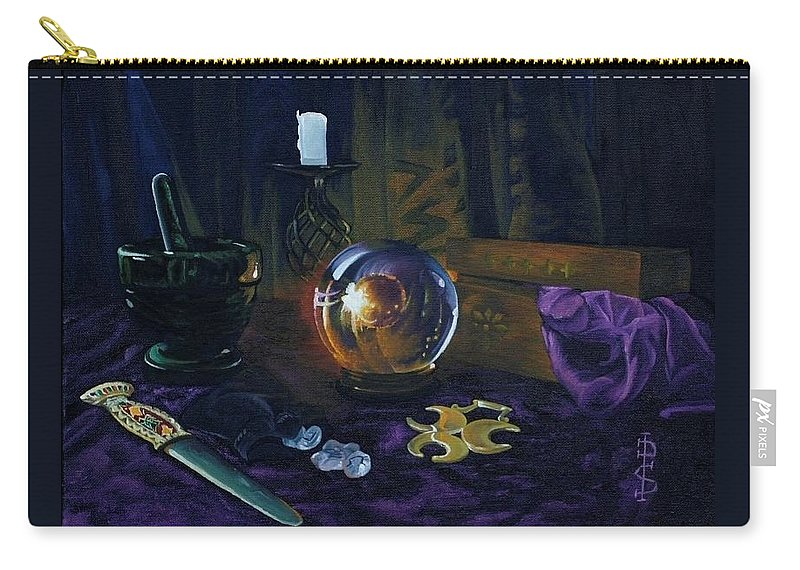 Still Life Mystic Crystal Ball Pestle Mortar Knife Runes Horse Brasspuple Silk Candle Carry-all Pouch featuring the painting Mystic Still Life by Pauline Sharp