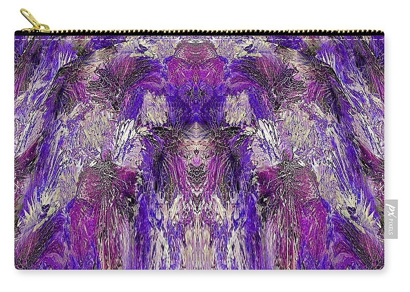 Mystic Waterfall Carry-all Pouch featuring the digital art Mystic Waterfall - Purple Hues by Artistic Mystic