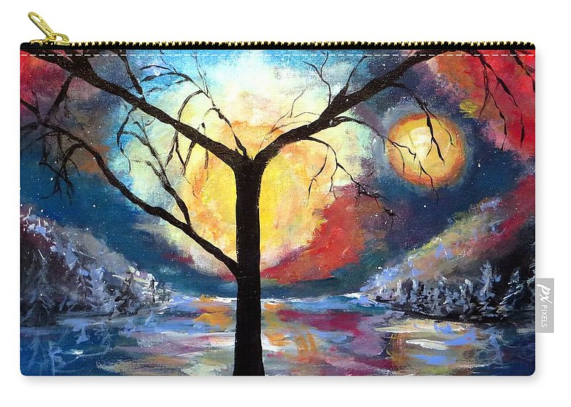 Mystical Carry-all Pouch featuring the painting Mystical Twilight Forest by Bernadette Krupa