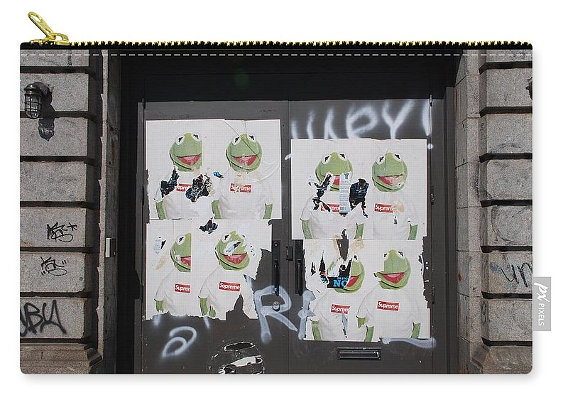 Kermit The Frog Carry-all Pouch featuring the photograph N Y C Kermit by Rob Hans