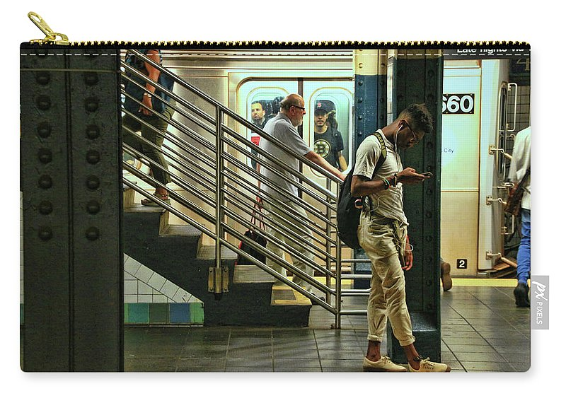 Art Carry-all Pouch featuring the photograph N Y C Subway Scene # 9 by Allen Beatty