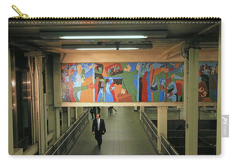 S Line Carry-all Pouch featuring the photograph N Y C Subway Scenes # 45 by Allen Beatty