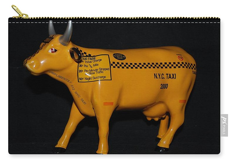 Macro Carry-all Pouch featuring the photograph N Y C Taxi Cow by Rob Hans