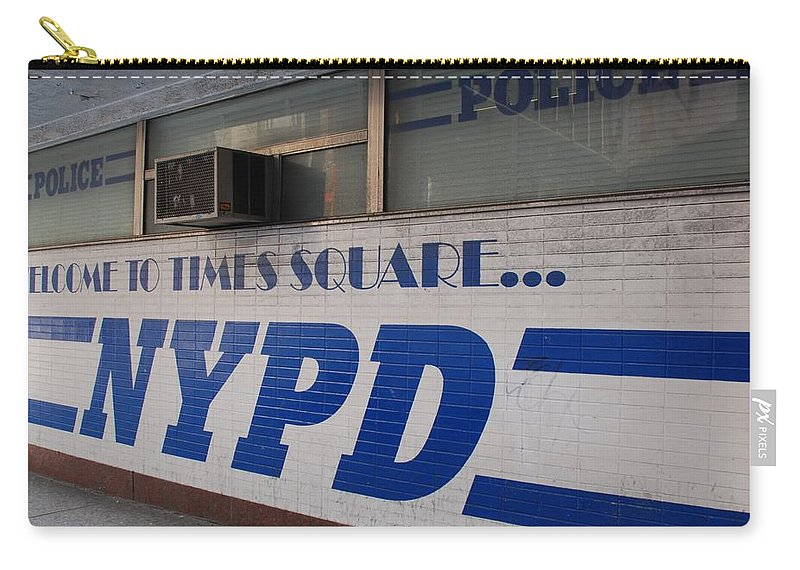 Nypd Carry-all Pouch featuring the photograph N Y P D Blue by Rob Hans