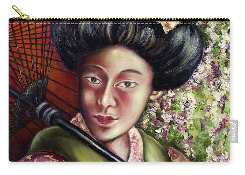 Japanese Carry-all Pouch featuring the painting Nadeshiko by Hiroko Sakai