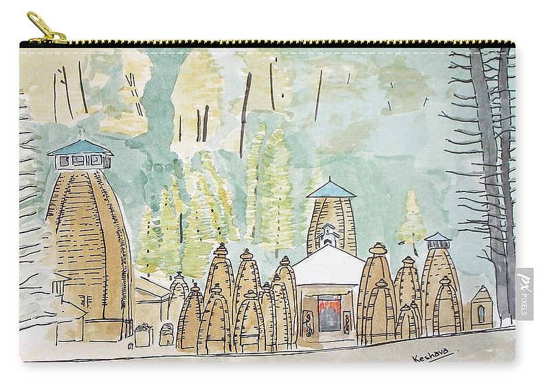 Nagesh Carry-all Pouch featuring the painting Nagesh Jyotirling by Keshava Shukla
