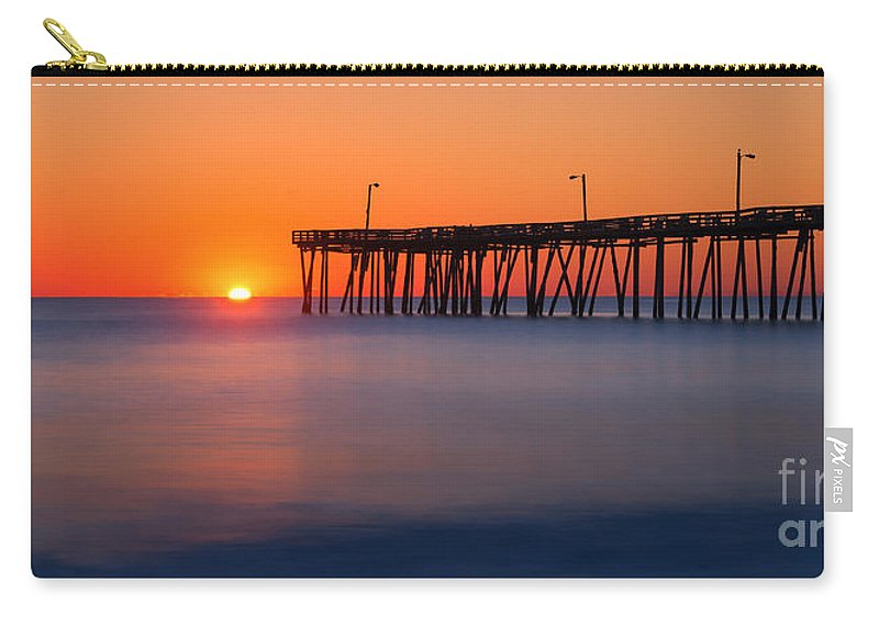 Nags Head Fishing Pier Carry-all Pouch featuring the photograph Nags Head Fishing Pier Sunrise Panorama by Michael Ver Sprill
