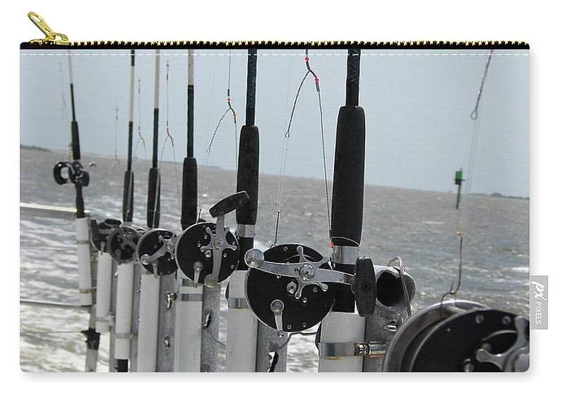 Nags Head Carry-all Pouch featuring the photograph Nags Head NC Fishing Poles by Brett Winn