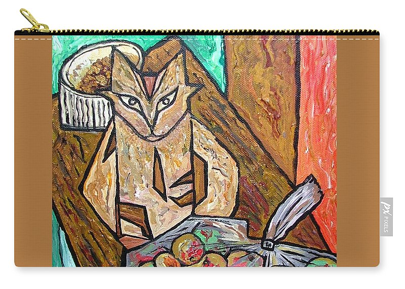 Cat Carry-all Pouch featuring the painting Naive Cat With Apples by Heather Lennox