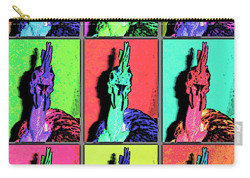 Warhol Carry-all Pouch featuring the photograph Naked Neck Rooster Warhol Style by Susan Baker