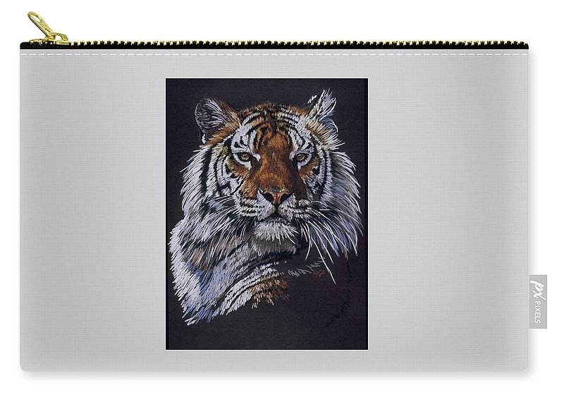 Tiger Carry-all Pouch featuring the drawing Nakita by Barbara Keith