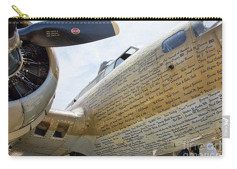 B-17 Carry-all Pouch featuring the photograph Names Pilots B-17 by Chuck Kuhn