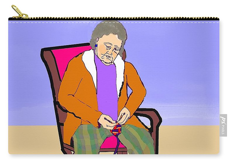 Grandmother Carry-all Pouch featuring the digital art Nana Knitting by Pharris Art