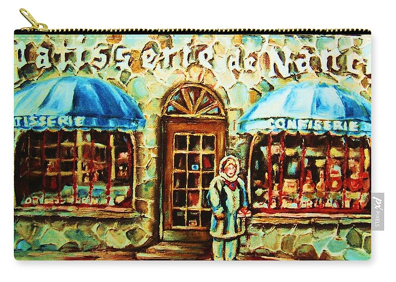 Bakery Shops Carry-all Pouch featuring the painting Nancys Fine Pastries by Carole Spandau