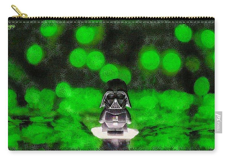 Darth Carry-all Pouch featuring the digital art Nano Darth Vader - Da by Leonardo Digenio