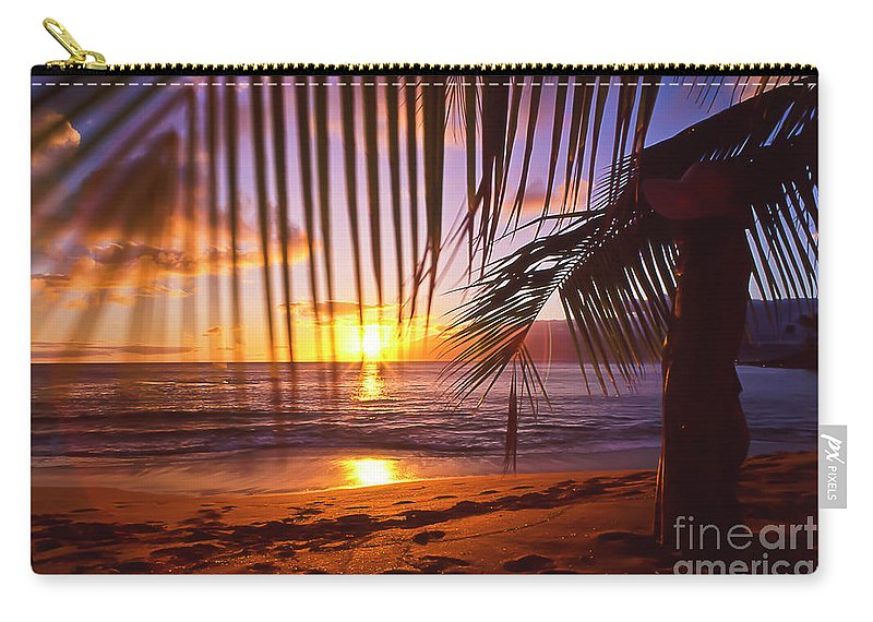 Sunset Carry-all Pouch featuring the photograph Napili Bay Sunset Maui Hawaii by Jim Cazel