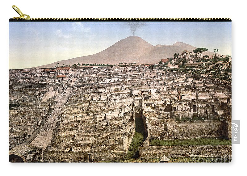 1890 Carry-all Pouch featuring the photograph Naples: Mt. Vesuvius by Granger