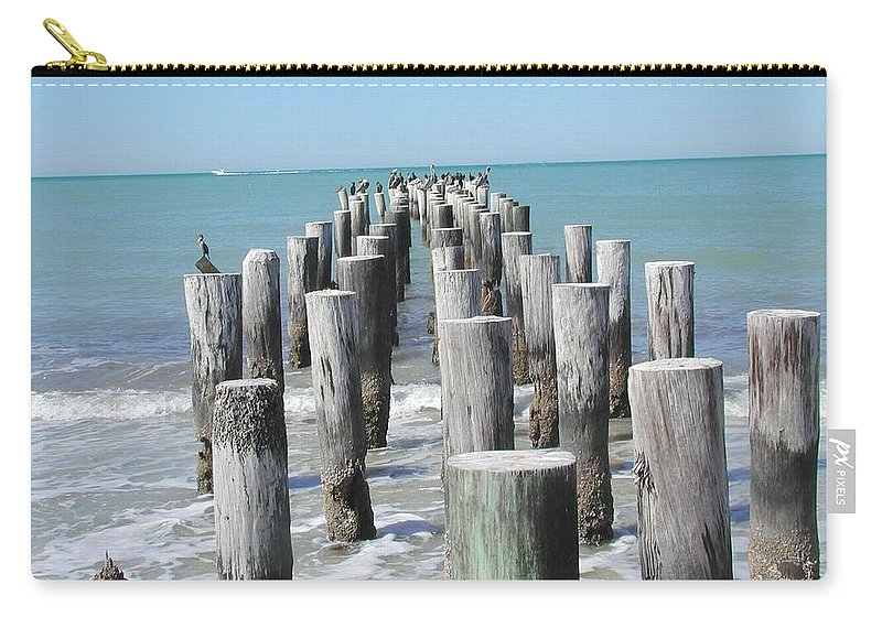 Ocean Carry-all Pouch featuring the photograph Naples Pier by Tom Reynen