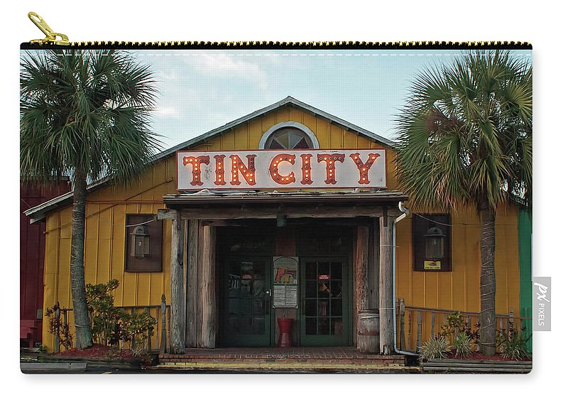 Florida Carry-all Pouch featuring the photograph Naples Tin City - Open For Business by Ronald Reid