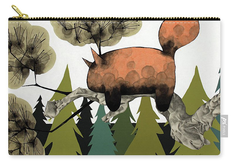 Animal Carry-all Pouch featuring the mixed media Napping Squirrel by Janne Nytorp
