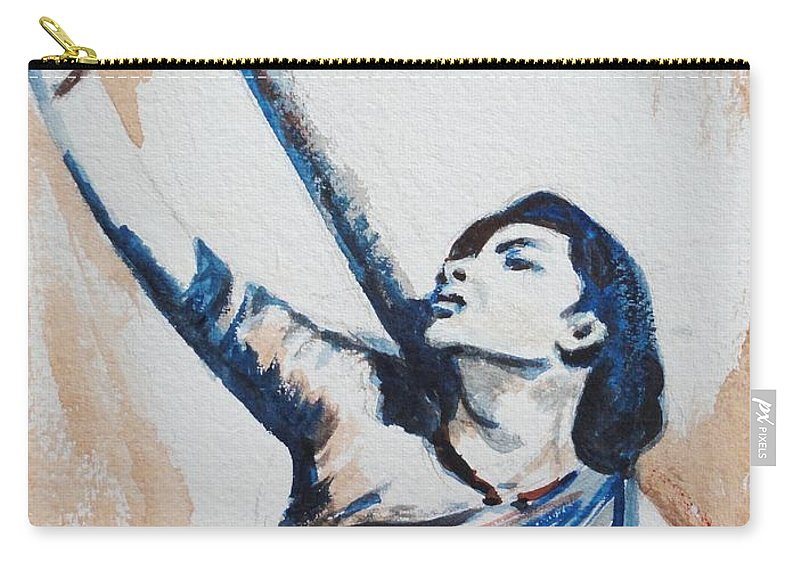 Carry-all Pouch featuring the painting Nargis Bollywood Star by Usha Shantharam