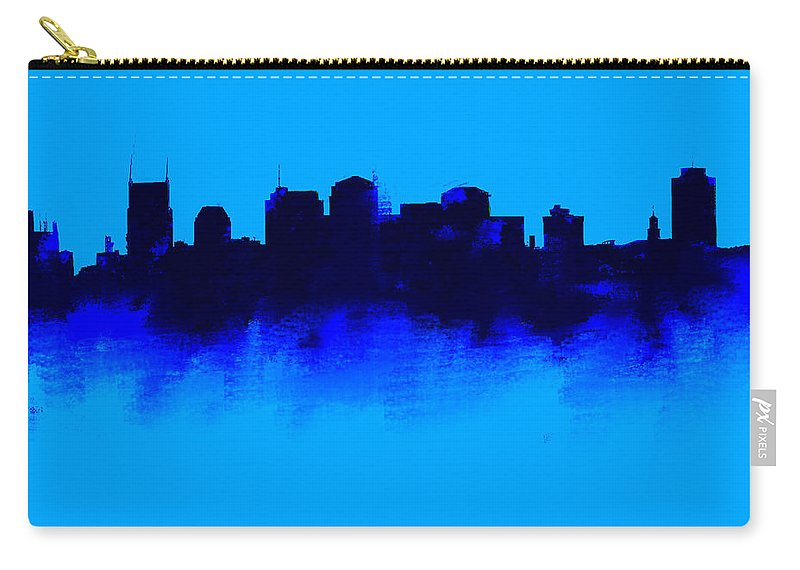 Nashville Carry-all Pouch featuring the drawing Nashville Skyline Blue by Enki Art
