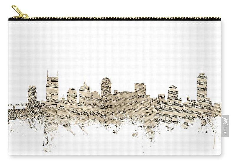 Nashville Carry-all Pouch featuring the digital art Nashville Tennessee Skyline Sheet Music by Michael Tompsett