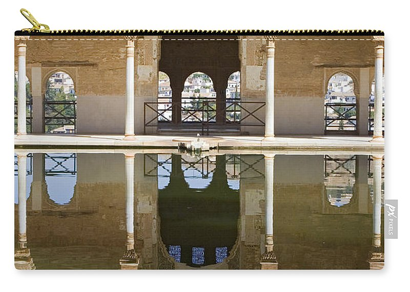 Moorish Carry-all Pouch featuring the photograph Nasrid Palace Arches Reflection At The Alhambra Granada by Mal Bray