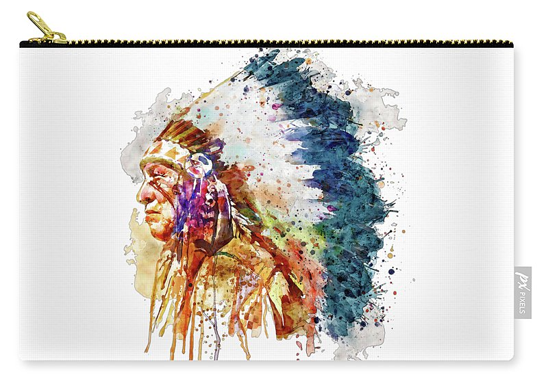 Native American Carry-all Pouch featuring the painting Native American Chief Side Face by Marian Voicu