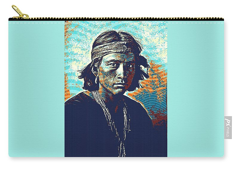 2fdfafb40ae Native Carry-all Pouch featuring the painting Native American Indian  Portrait Profile Series - Navajo