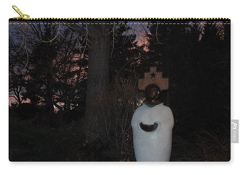 Trees Carry-all Pouch featuring the photograph Native American Sculpture At The State Capital by Rob Hans