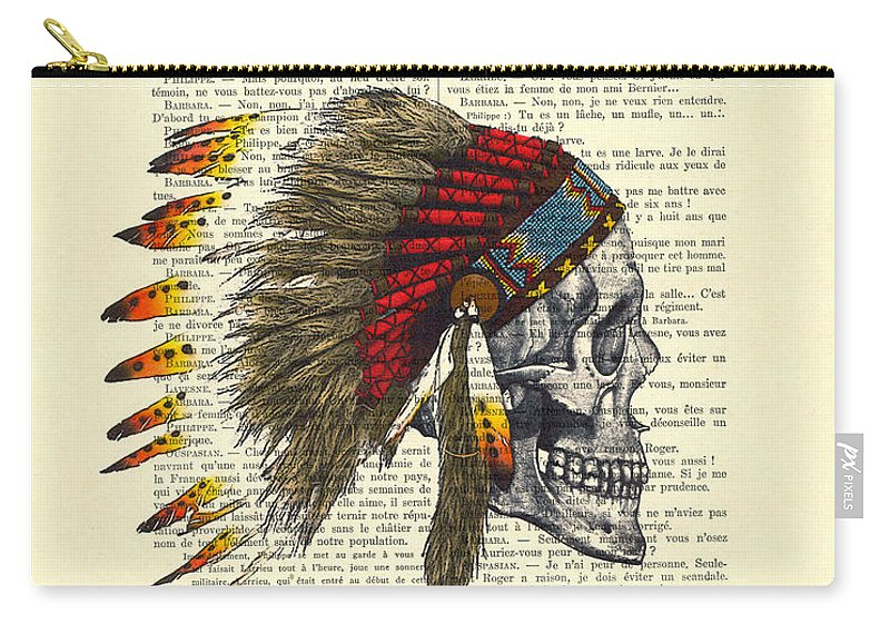 Native American Carry-all Pouch featuring the digital art Native American Skull by Madame Memento