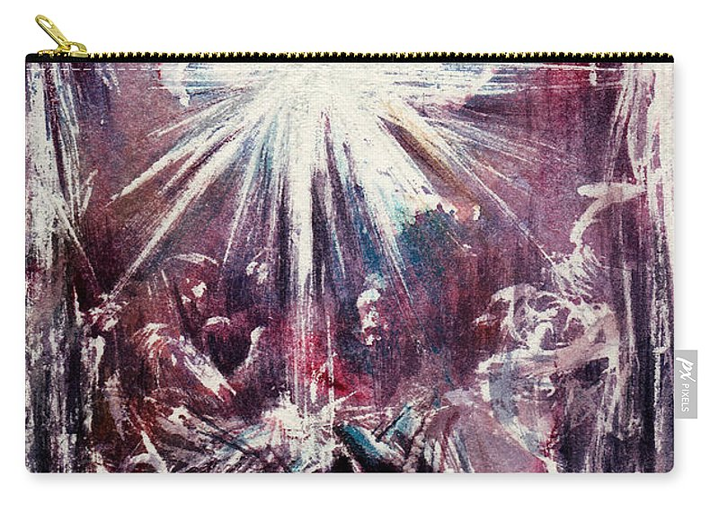 Nativity Carry-all Pouch featuring the painting Nativity 1 by Rachel Christine Nowicki