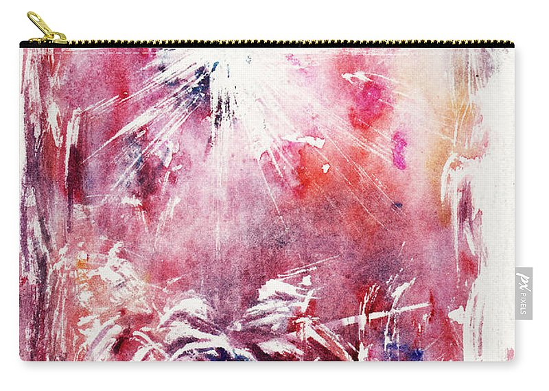 Nativity Carry-all Pouch featuring the painting Nativity 5 by Rachel Christine Nowicki