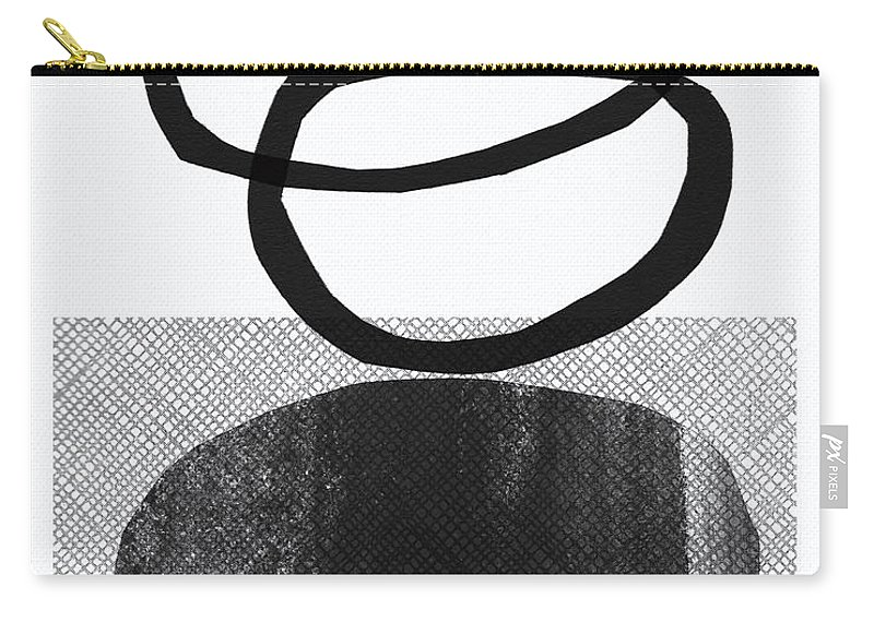 Grey Carry-all Pouch featuring the mixed media Natural Balance- Abstract Art by Linda Woods