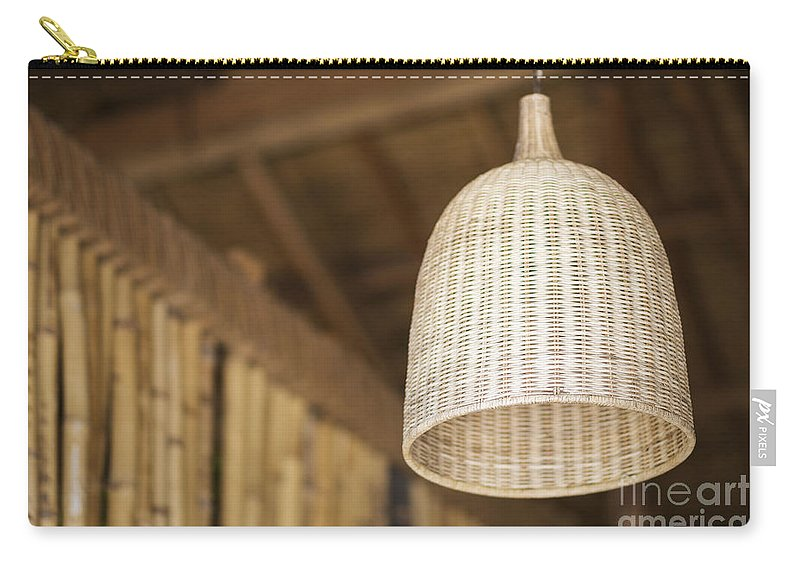 Asia Carry-all Pouch featuring the photograph Natural Bamboo Interior Design Lampshade Detail by Jacek Malipan