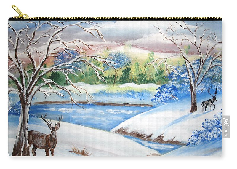 Winter Scene Carry-all Pouch featuring the painting Natural Beauty by Luis F Rodriguez