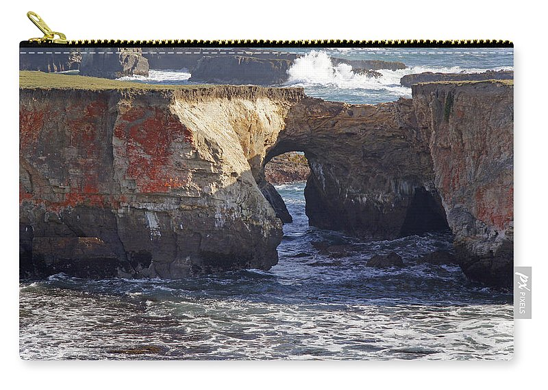 Highway 1 Carry-all Pouch featuring the photograph Natural Bridge At Point Arena by Mick Anderson