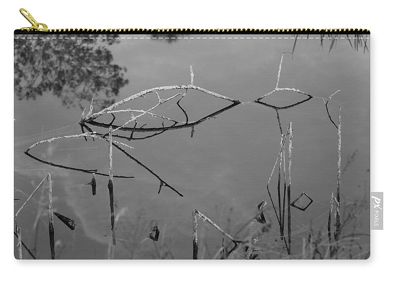 Black And White Carry-all Pouch featuring the photograph Natures Bridge by Rob Hans