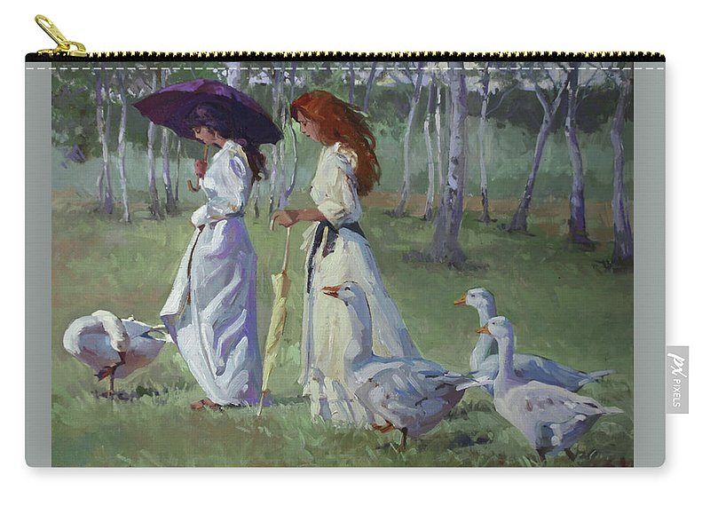 Women In White Carry-all Pouch featuring the painting Nature's Compliments by Betty Jean Billups