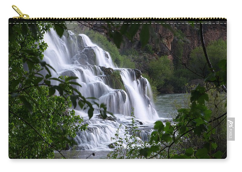 Water Carry-all Pouch featuring the photograph Nature's Framed Waterfall by DeeLon Merritt