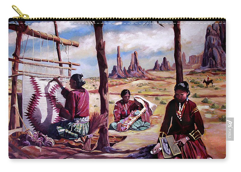 Native American Carry-all Pouch featuring the painting Navajo Weavers by Nancy Griswold