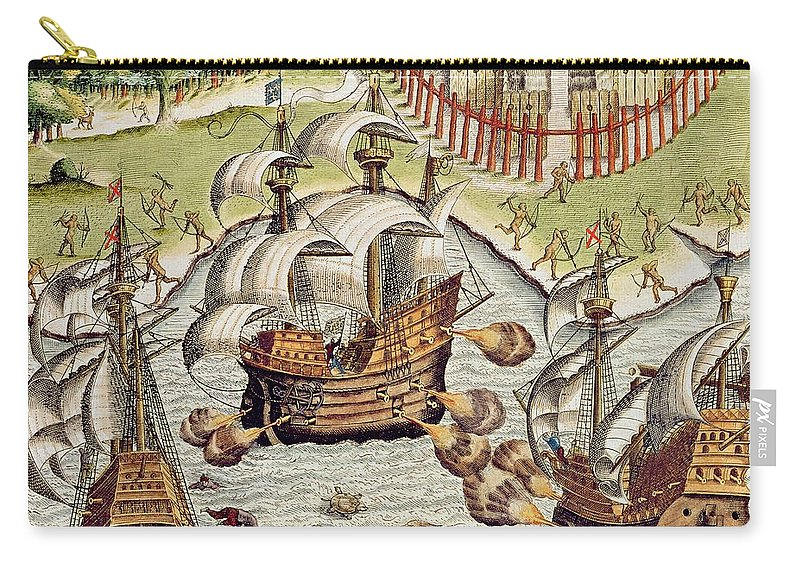 Naval Carry-all Pouch featuring the painting Naval Battle Between The Portuguese And French In The Seas Off The Potiguaran Territories by Theodore de Bry