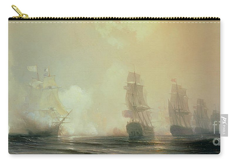 Boat Carry-all Pouch featuring the painting Naval Battle In Chesapeake Bay by Jean Antoine Theodore Gudin
