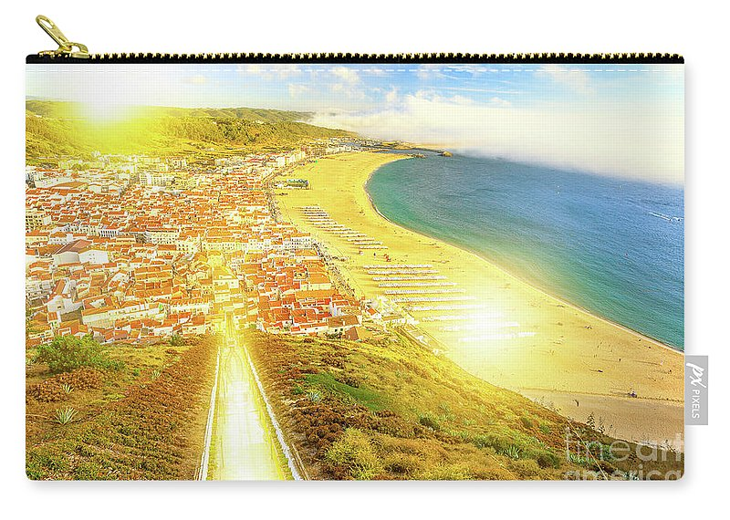 Nazare Portugal Carry-all Pouch featuring the photograph Nazare Skyline Sunset by Benny Marty