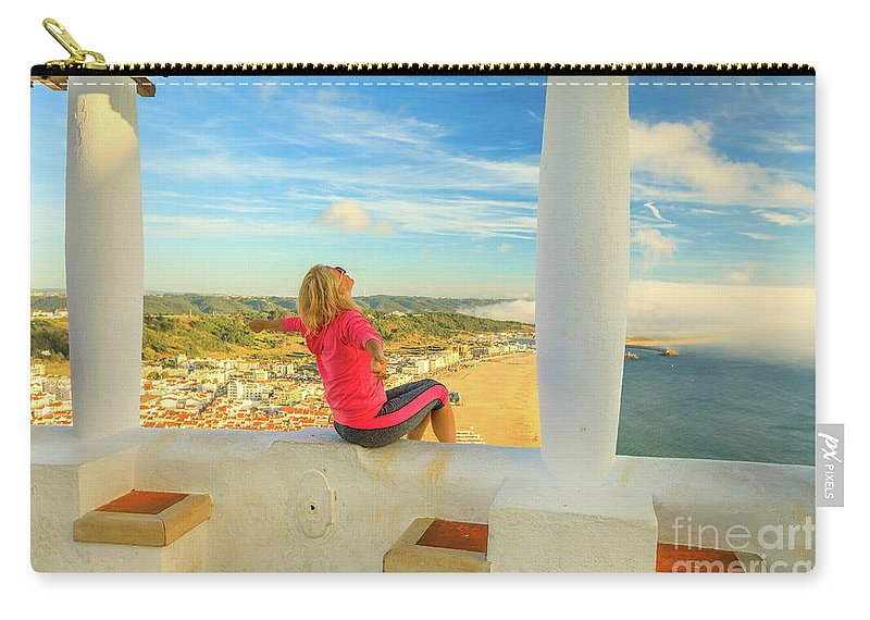 Nazare Portugal Carry-all Pouch featuring the photograph Nazare Viewpoint Woman by Benny Marty