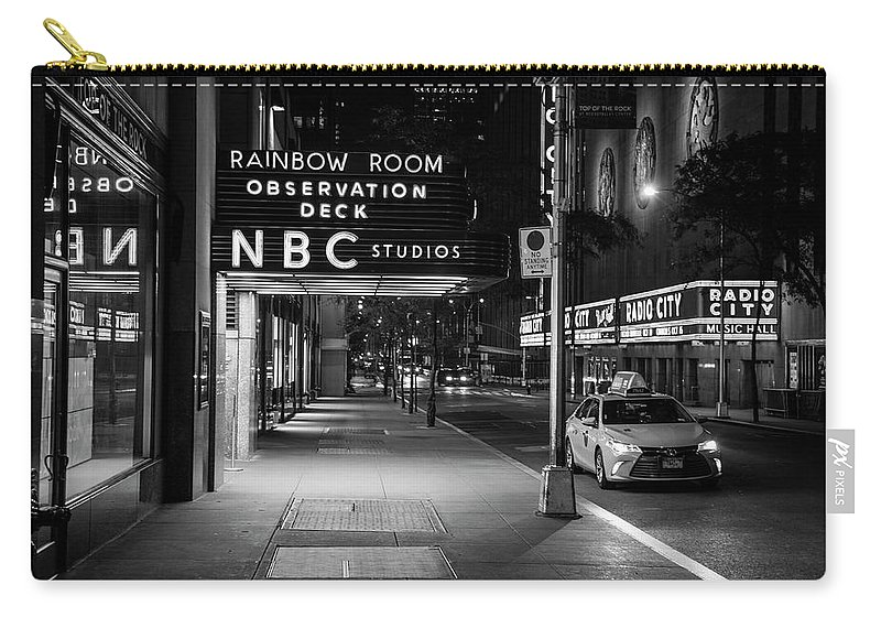 Nbc Studios Rockefeller Center Black And White Carry All Pouch For Sale By John Mcgraw